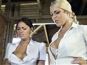 naughty lesbos Ava Dalush and Victoria Summer ravage the stable man