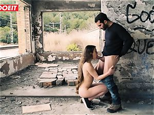 LETSDOEIT - small French teenager drilled rock hard In Outdoors