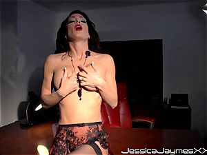 naughty brunette Jessica Jaymes frigs her jiggly cootchie pie in her office