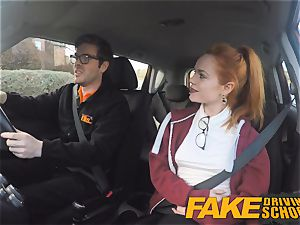 faux Driving college nice red-haired Ella Hughes pokes