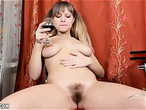 Jamaica fake penises her wild wooly vag