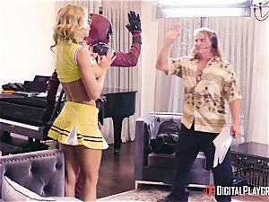 Jessa Rhodes gets pummeled by draped superhero
