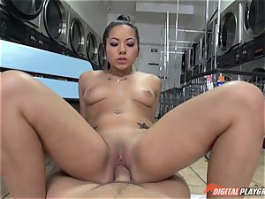 Caught on camera in the laundrette with gorgeous stunner Morgan lee