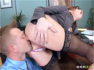 redhead manager Britney Amber plows a kinky worker