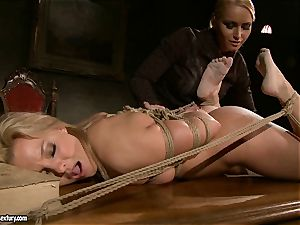 Kathia Nobili like to pinched down her marionette with fake penis
