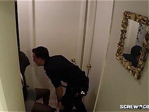 milky Cops smash black nubile