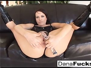 Dana gets her butt wedged with a fat dark-hued sausages