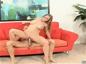 Abby rode bounces her super-fucking-hot poon on this firm man rod