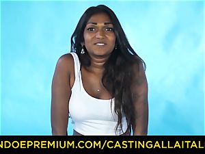 casting ALLA ITALIANA - Indian babe gets enormous pink cigar rectal