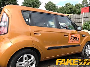 fake Driving school Posh super-naughty chesty examiner