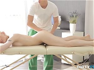 filthy Flix - bang-out on a folding rubdown table