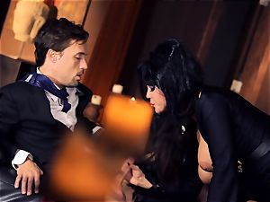ebony haired Alison Tyler romps her suited paramour