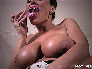 Lisa Ann is plunging that gVibe real deep