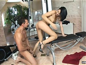 brunette Abbie Cat boned her individual trainer all day