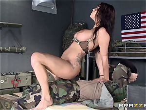 Soldier humps big-titted luxurious nurse Peta Jensen after battle