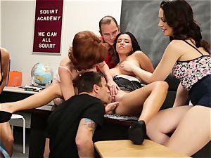 Veronica Avluv demonstrates steaming girls how to spray