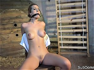 gagged honey ejaculations during restrain bondage