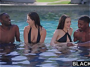 multiracial group orgy with Leah Gotti and Lana Rhoades