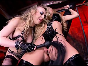 hot Kagney Karter tortures a strapped up Amy Brooke