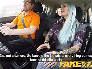 fake Driving school huge-chested goth learner in ass-fuck and toys