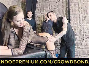 CROWD restrain bondage - extraordinary bdsm penetrate wheel with Tina Kay