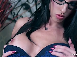 Dava taunts you then fingers her beautiful puss