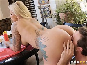 Ryan Conner opens broad for her cumload