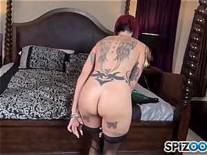 Anna Bell Peaks slurps on ginormous lollipop and gets a spunk fountain on her boobies
