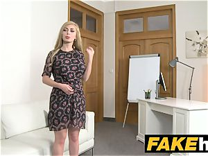 faux Agent red-hot light-haired large globes Russian gets a facial cumshot