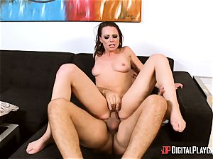brunette Aidra Fox takes it deep in her taut twat