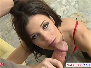 Stockinged mommy India Summers gets torn up and facialized