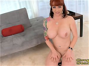 pov busty red-haired mummy sucking
