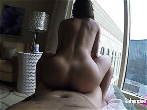 Rahyndee pleasuring manstick in Las Vegas motel point of view