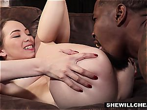 SheWillCheat - cheating wife Pounces On dark-hued sausage