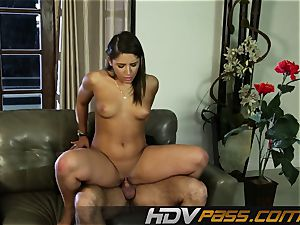 HDVPass Abella Danger taunts in a jaw-dropping crimson sundress