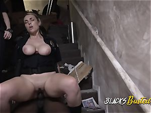 Bad driver is apprehended and taken to crazy milf cops spot
